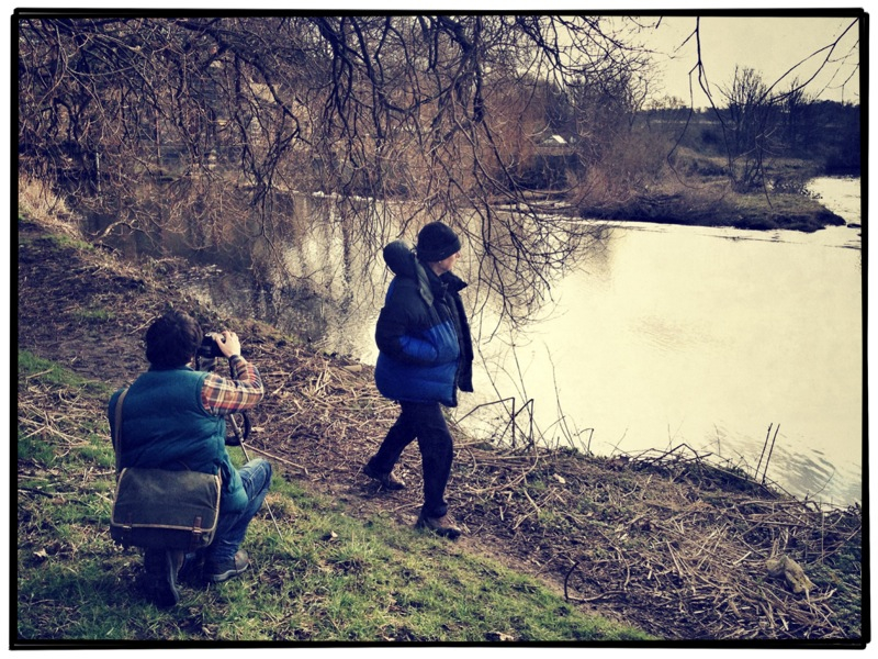 Filming on the bank of the Aire. Christian focussing on Owen as he walks the muddy banks of the river.