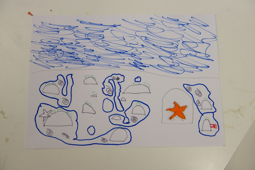 Inspired by one of the objects in the canvas bags, this reminded the child of a star fish he found in a rock pool he visited last year.