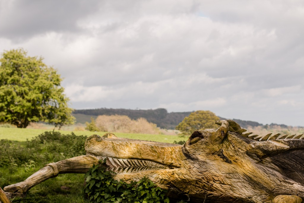 Chainsaw sculpture of dragon